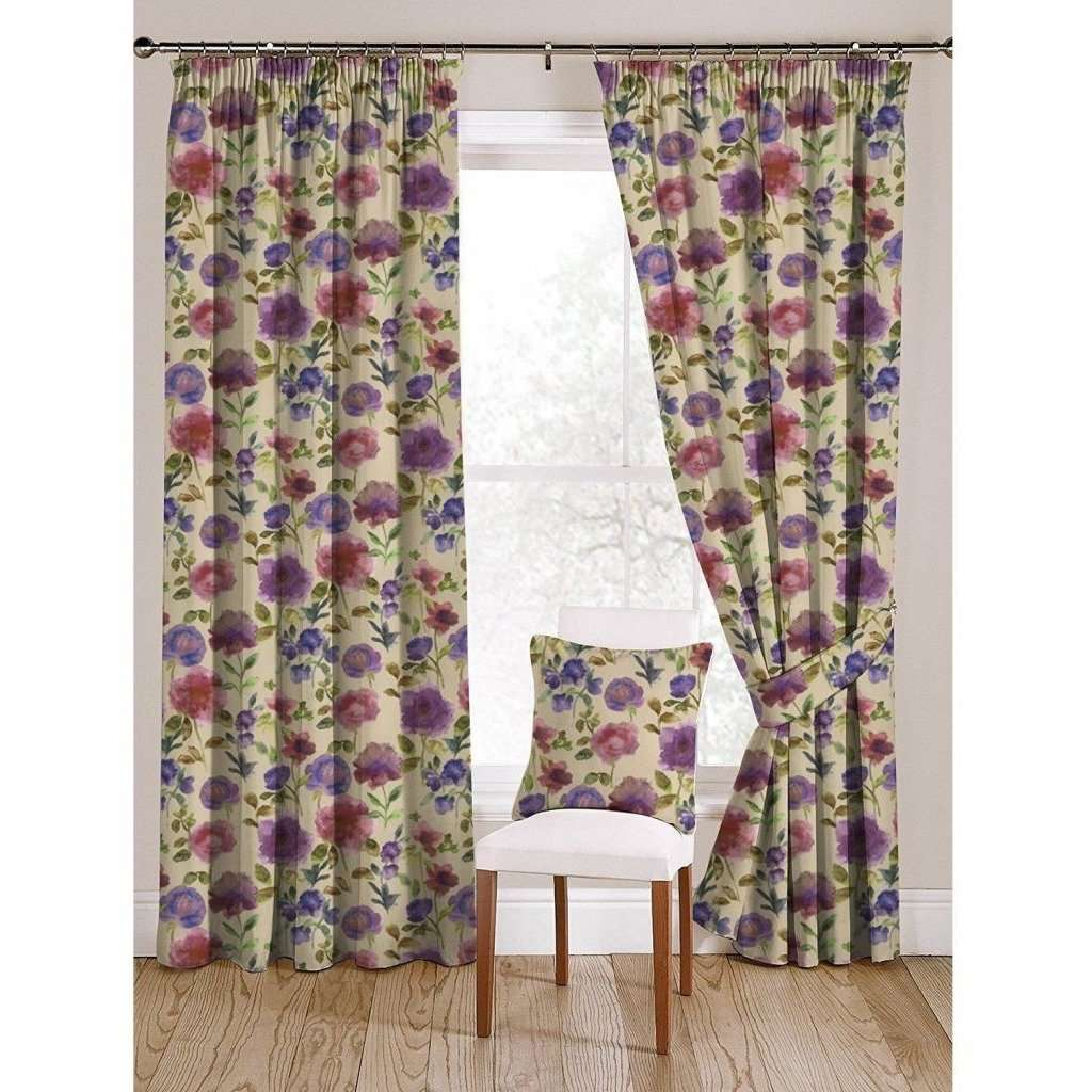 "McAlister Textiles Renoir Floral Violet Purple Velvet Curtains Tailored Curtains 116cm(w) x 182cm(d) (46"" x 72"")"
