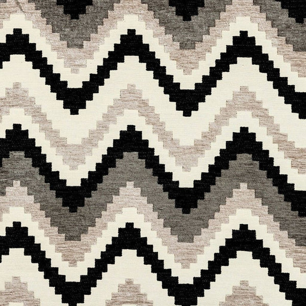 McAlister Textiles Navajo Black + Grey Striped Fabric Sample Fabrics