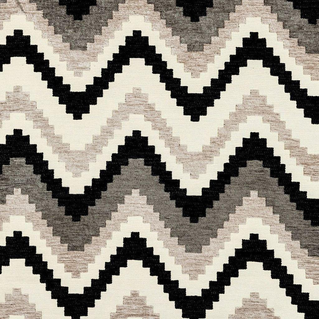 McAlister Textiles Navajo Black + Grey Striped Fabric Fabrics 1 Metre