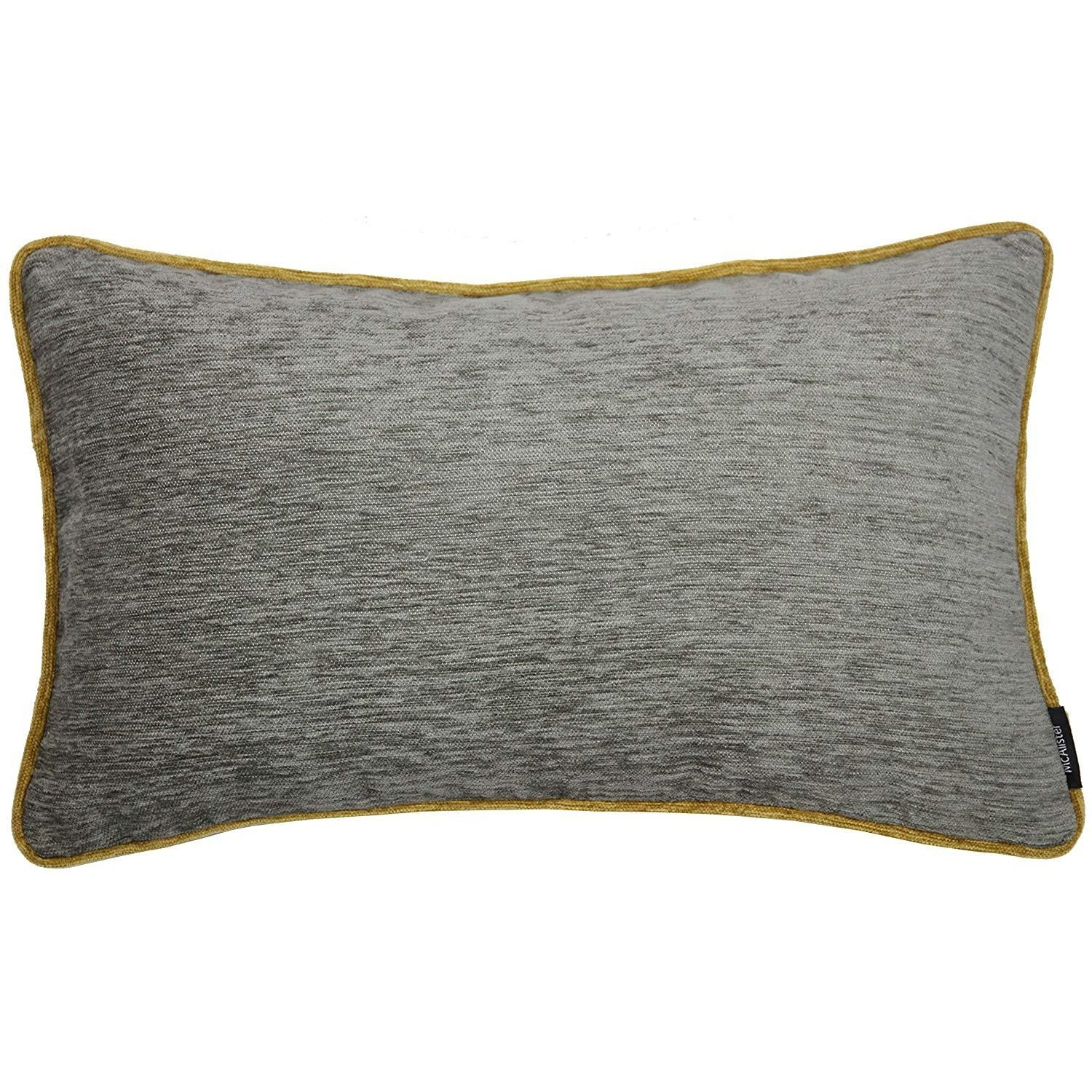 McAlister Textiles Alston Chenille Grey + Yellow Cushion Cushions and Covers Cover Only 50cm x 30cm