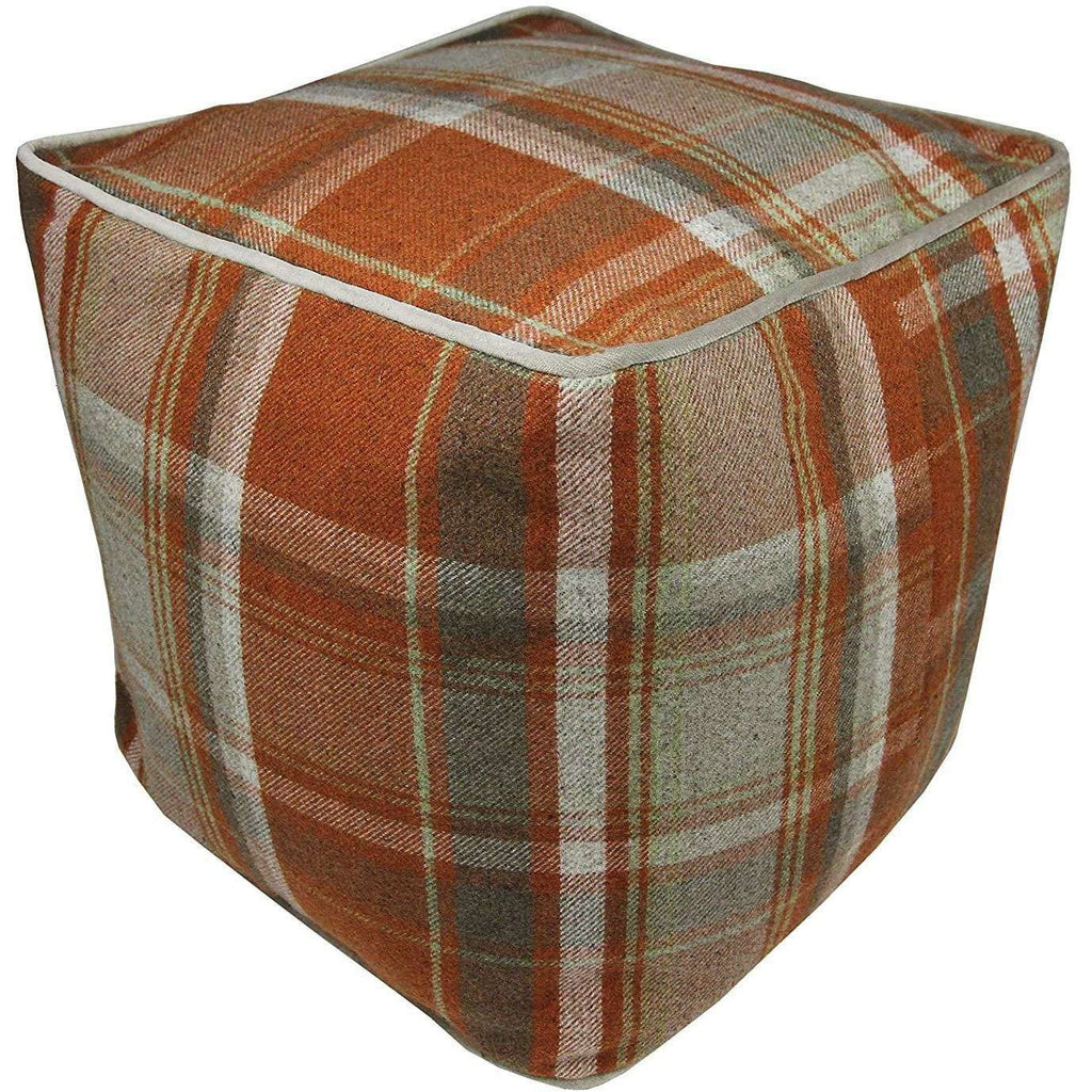 McAlister Textiles Deluxe Tartan Burnt Orange Cube Seat Stool Square Stool