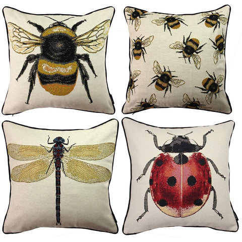 McAlister Textiles Bug's Life Tapestry Cushion Sets - Bee, Dragonfly...-Cushions and Covers-Set of 4-Cushion Covers-