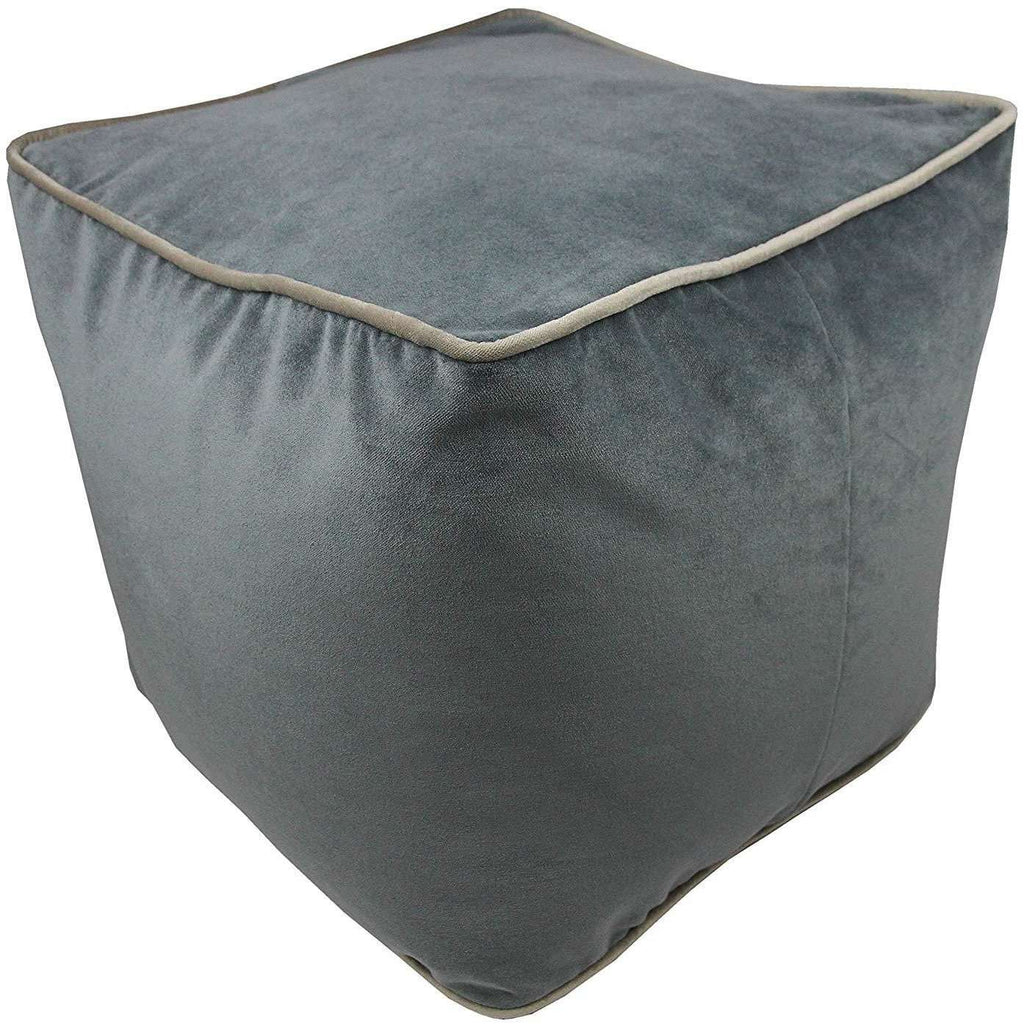 McAlister Textiles Deluxe Velvet Charcoal Grey Cube Seat Stool Square Stool