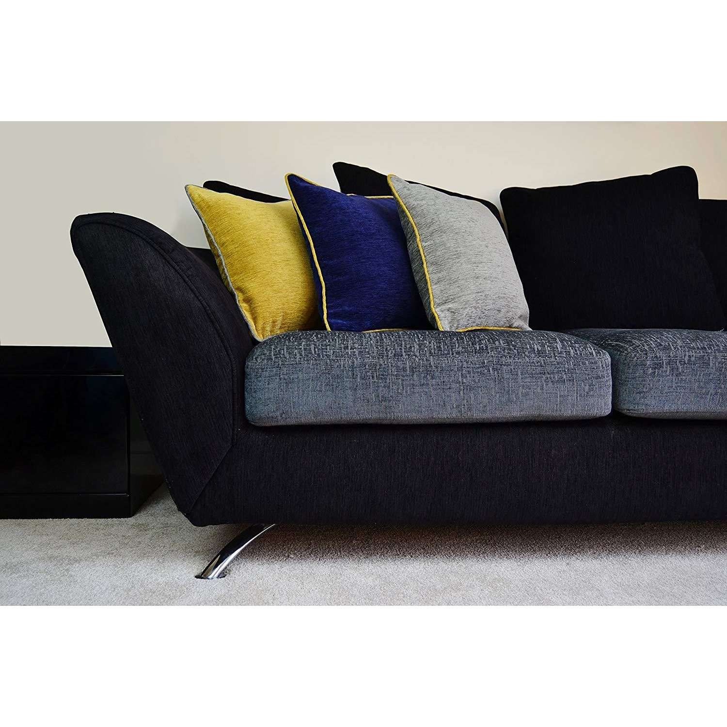 McAlister Textiles Alston Chenille Grey + Yellow Cushion Cushions and Covers