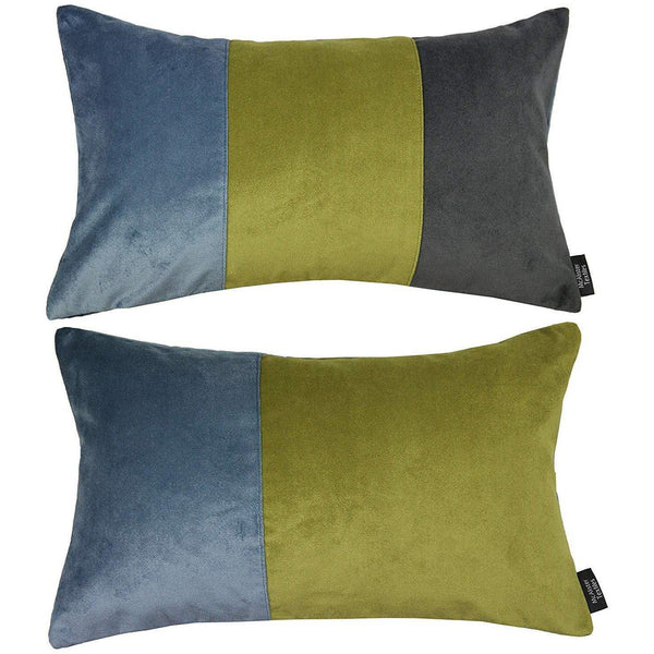 McAlister Textiles Patchwork Velvet Blue, Green + Grey Pillow Set Pillow Set of 2 Cushion Covers