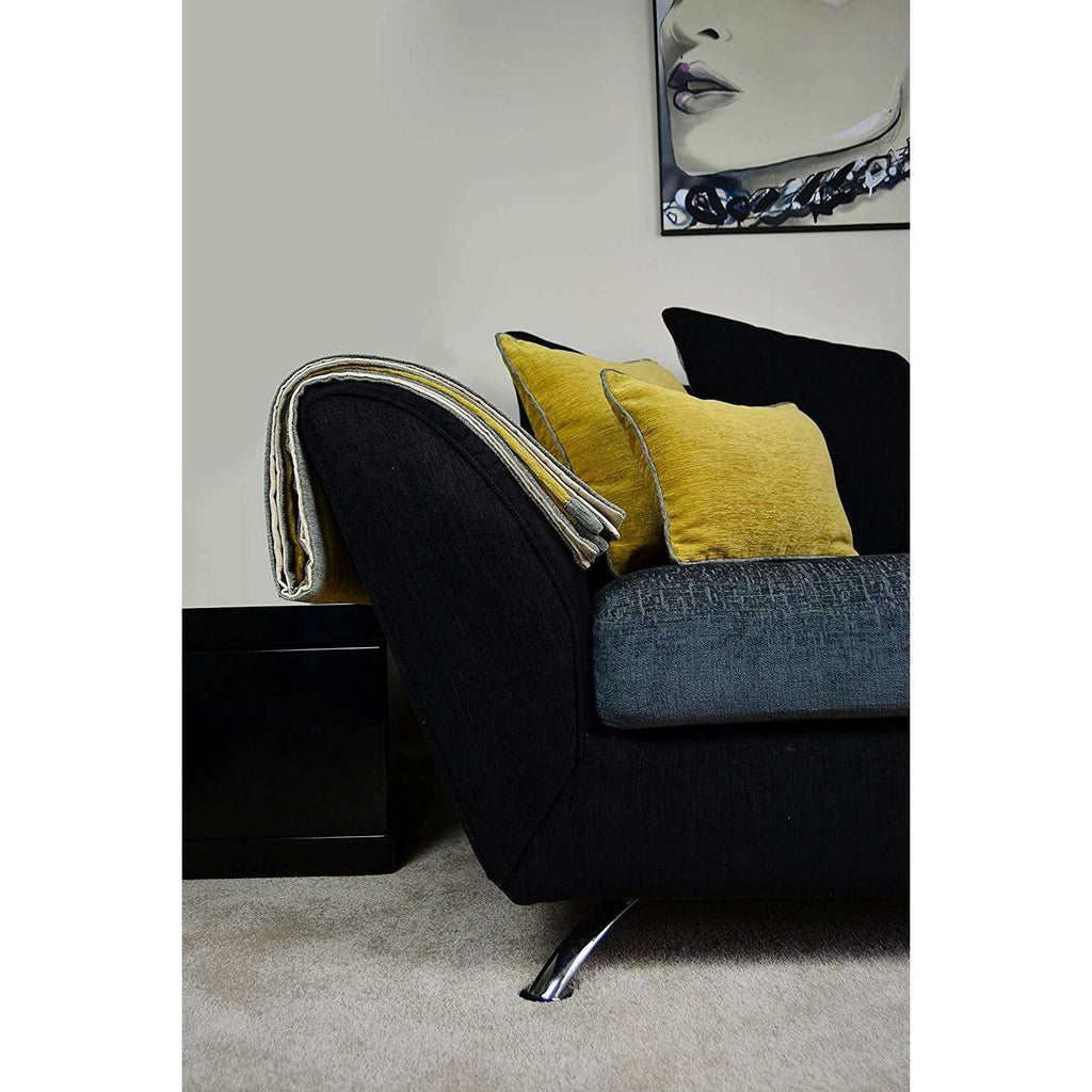 McAlister Textiles Alston Chenille Yellow + Grey Cushion Cushions and Covers