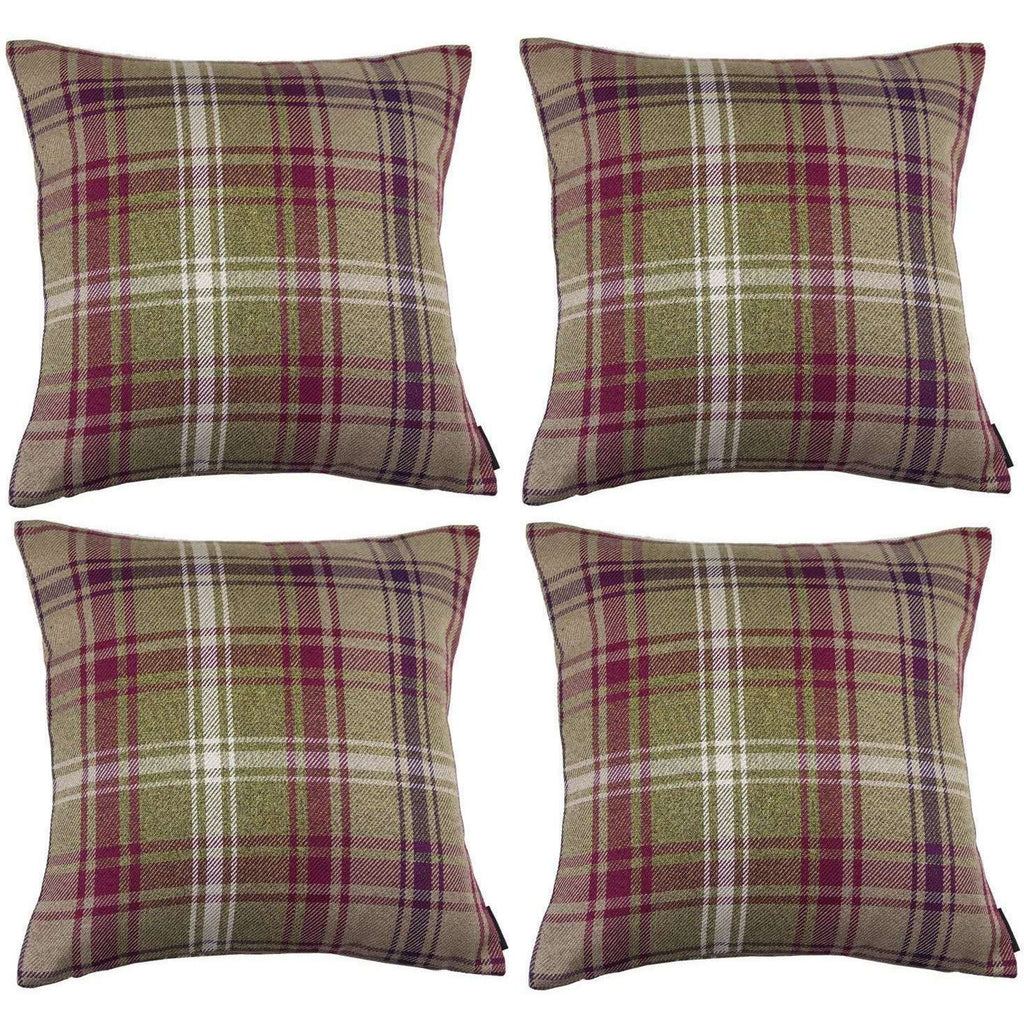 McAlister Textiles Angus Purple + Green Tartan 43cm x 43cm Cushion Sets Cushions and Covers Cushion Covers Set of 4