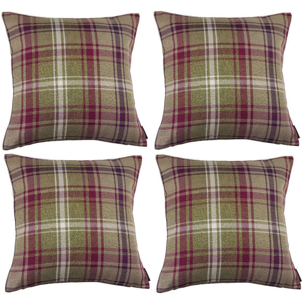 McAlister Textiles Angus Tartan Check Purple + Green Cushion Set Cushions and Covers Cushion Covers Set of 4