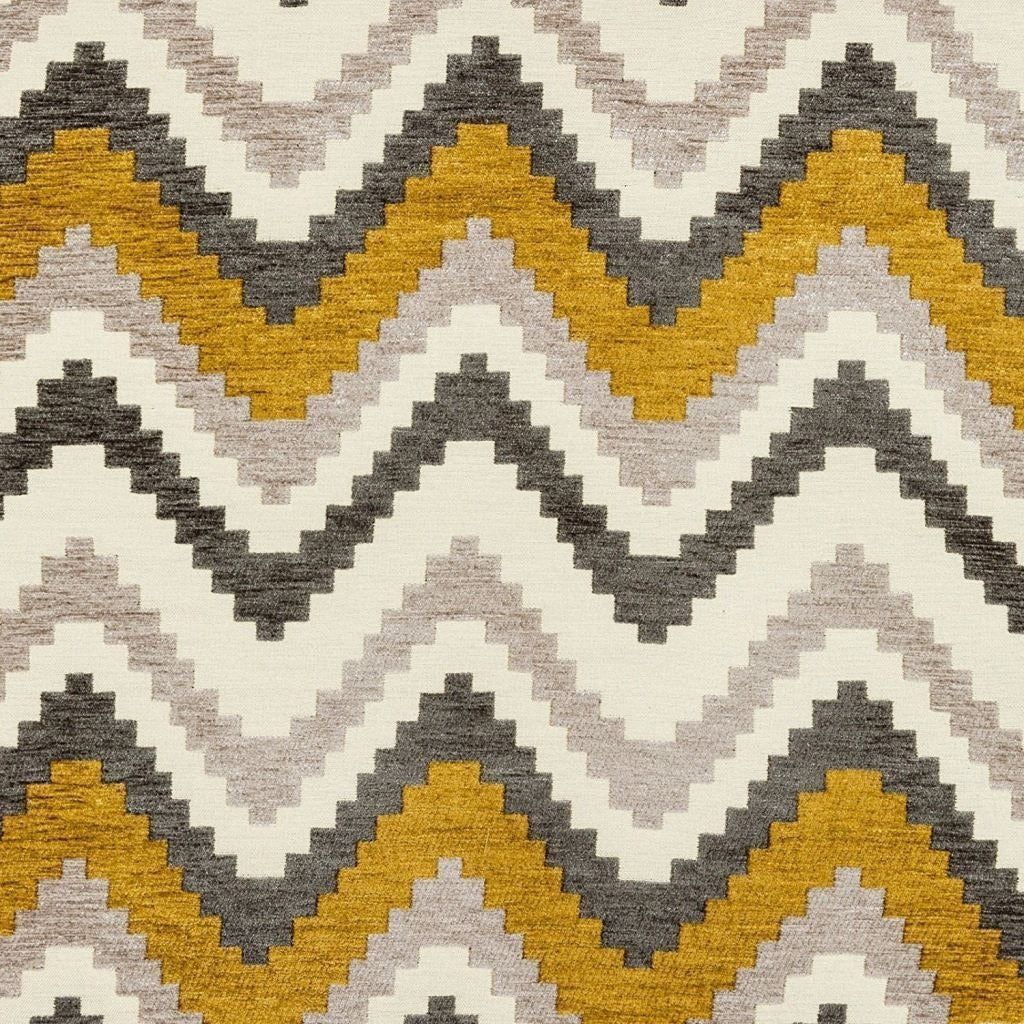 McAlister Textiles Navajo Yellow + Grey Striped Curtains Tailored Curtains