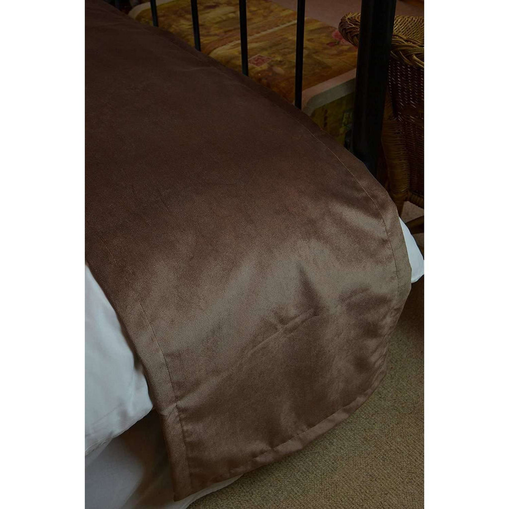 McAlister Textiles Matt Mocha Brown Velvet Throw Blanket Throws and Runners