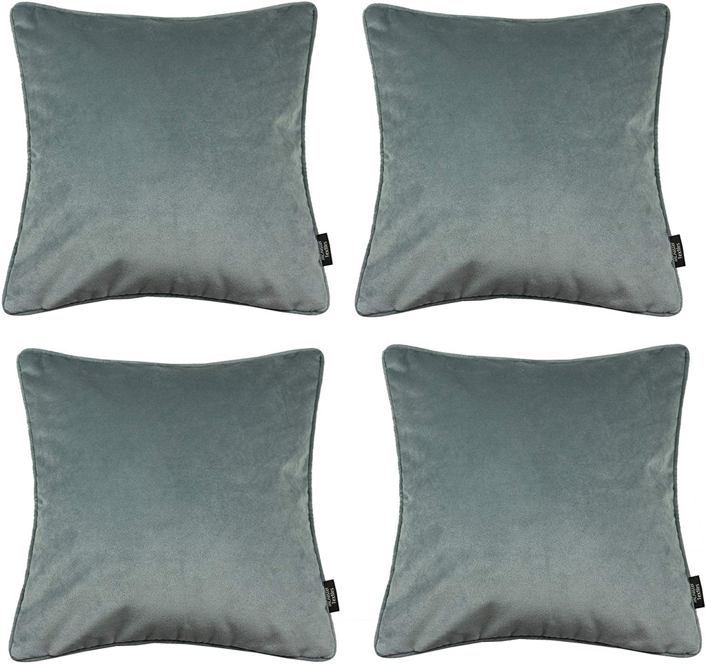 McAlister Textiles Matt Dove Grey Velvet 43cm x 43cm Cushion Sets Cushions and Covers Cushion Covers Set of 4