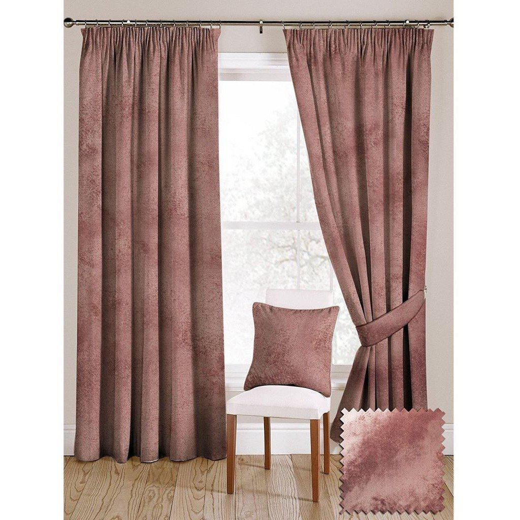 "McAlister Textiles Rose Pink Crushed Velvet Curtains Tailored Curtains 116cm(w) x 182cm(d) (46"" x 72"")"