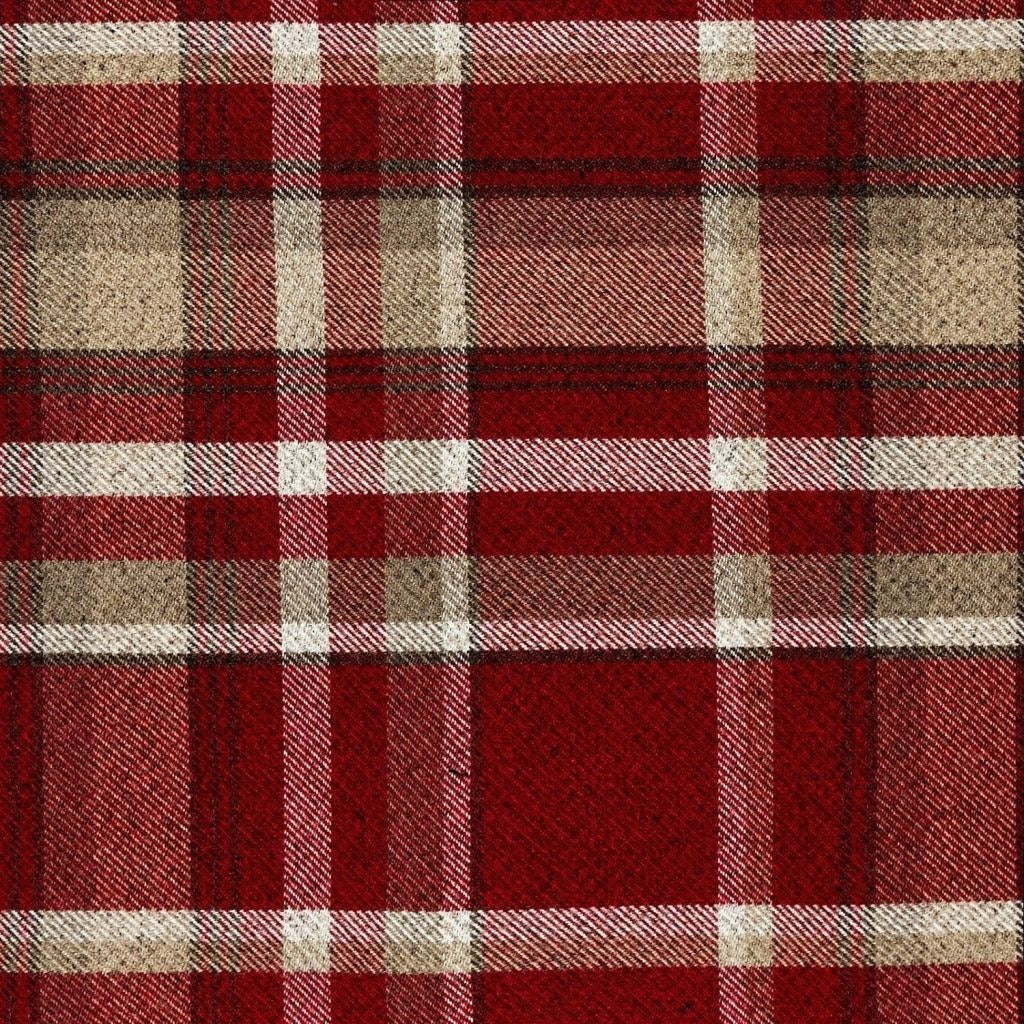 McAlister Textiles Heritage Tartan Red + White Curtain Fabric Fabrics 1 Metre
