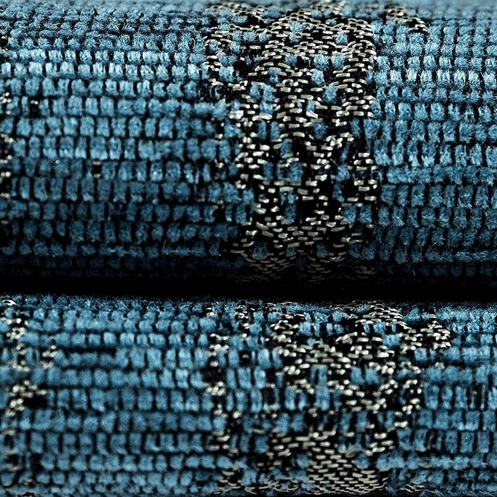 McAlister Textiles Textured Chenille Denim Blue Fabric Fabrics
