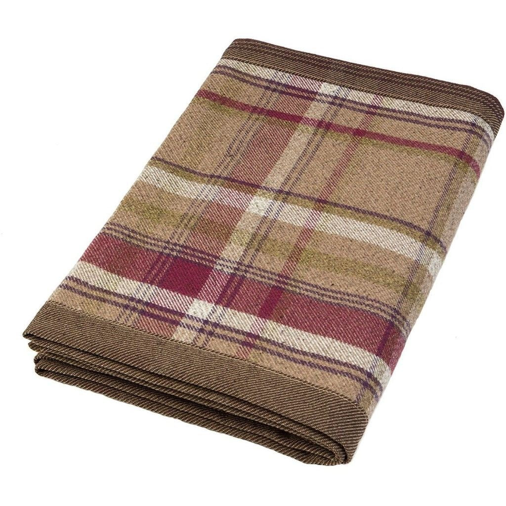 McAlister Textiles Heritage Purple + Green Tartan Throw Throws and Runners Regular (130cm x 200cm)