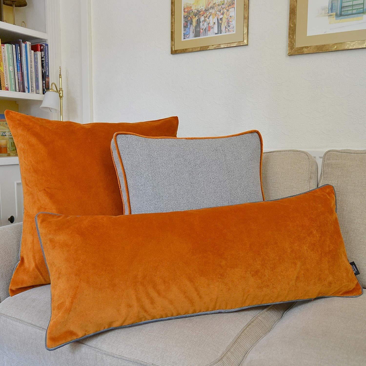 McAlister Textiles Deluxe Velvet Large Burnt Orange Bed Pillow Large Boudoir Cushions
