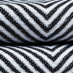 McAlister Textiles Herringbone Twill Black & White Cotton Blend Fabric-Fabrics-