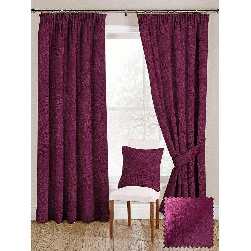 Mcalister Textiles Fuchsia Pink Crushed Velvet Curtains