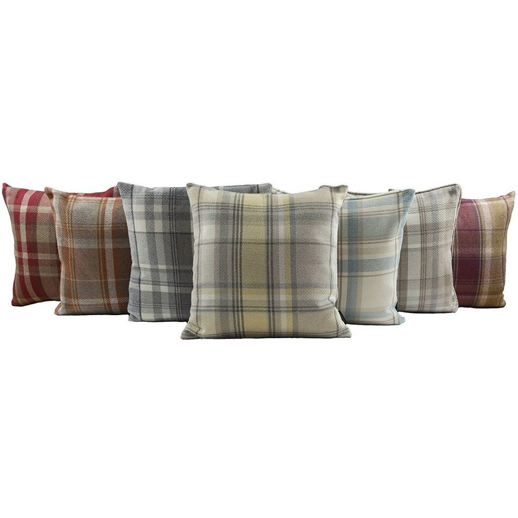 McAlister Textiles Heritage Duck Egg Blue Tartan Cushion Cushions and Covers