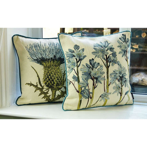 McAlister Textiles Floral Tapestry Cushion Sets - Blue + Green-Cushions and Covers-Set of 2-Cushion Covers-