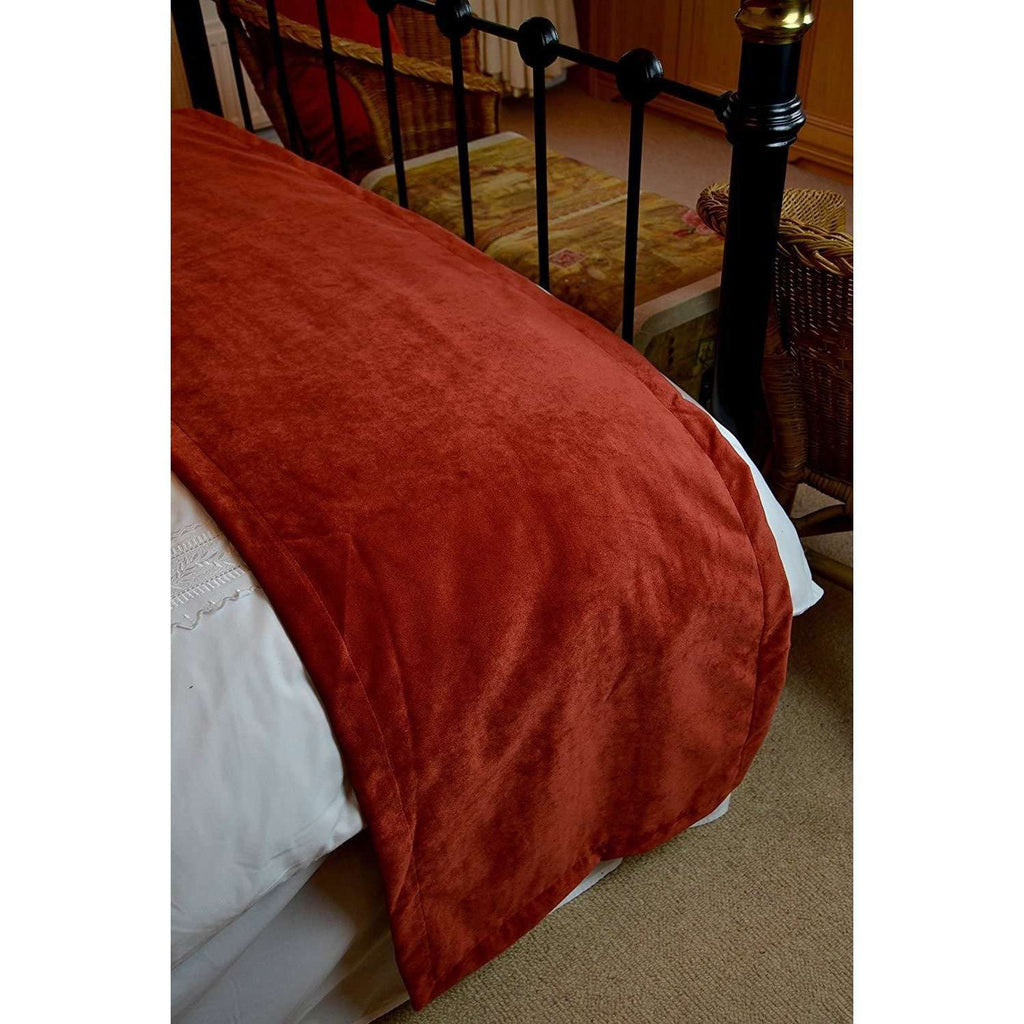 McAlister Textiles Matt Rust Red Orange Velvet Throw Blankets & Runners Throws and Runners
