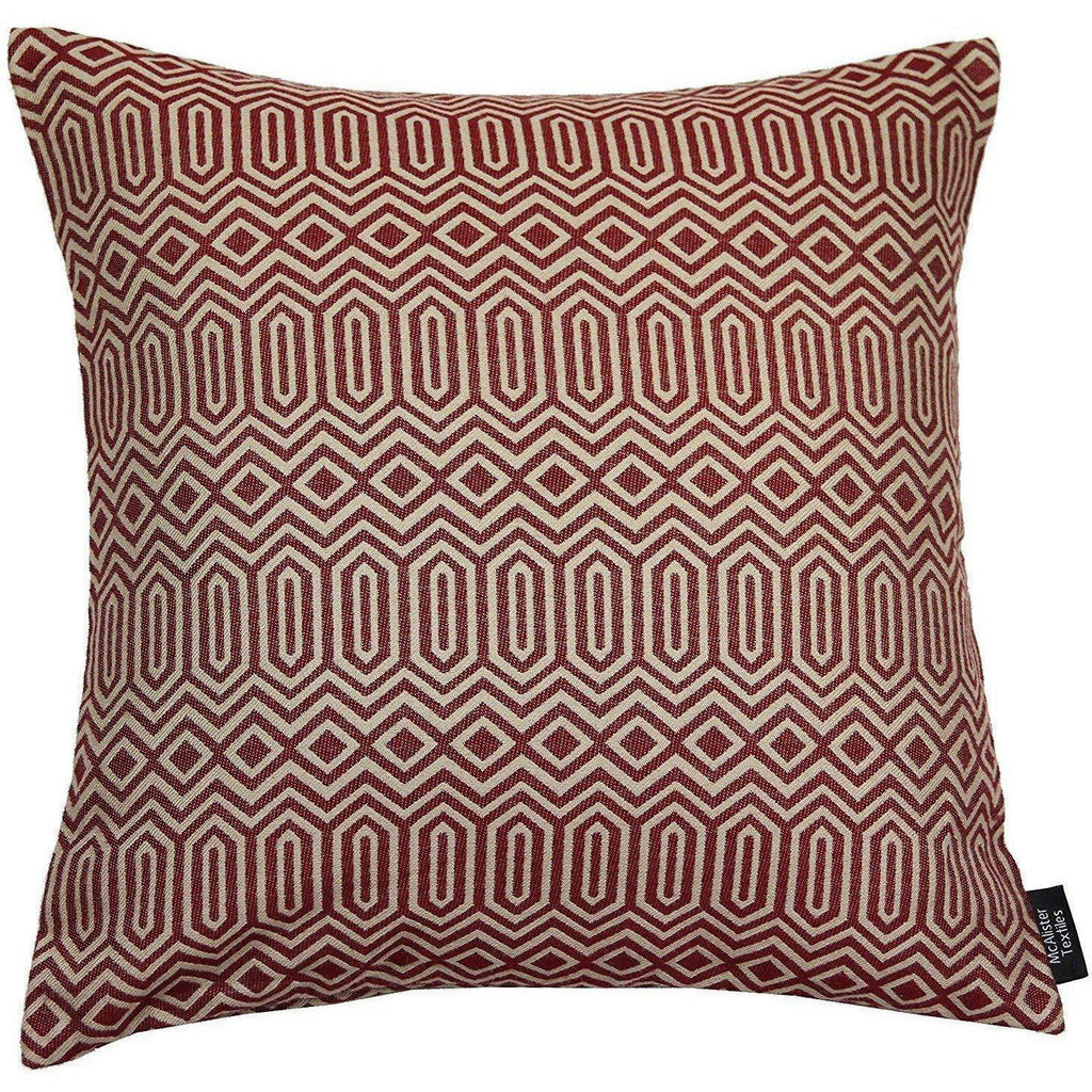 McAlister Textiles Colorado Geometric Red Cushion Cushions and Covers Polyester Filler 43cm x 43cm