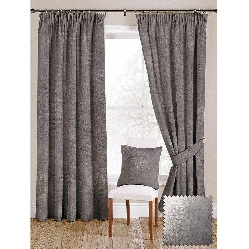 "McAlister Textiles Silver Crushed Velvet Curtains Tailored Curtains 116cm(w) x 182cm(d) (46"" x 72"")"