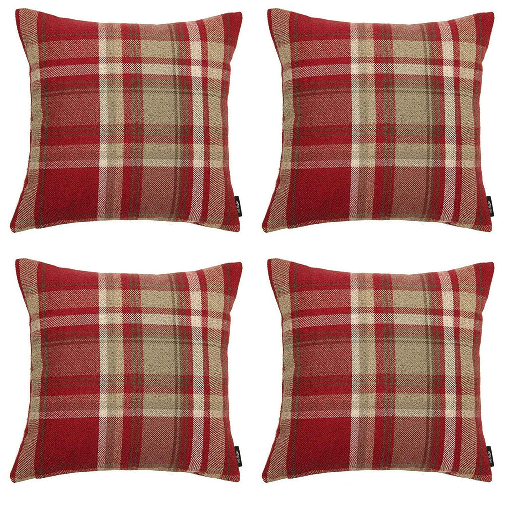 McAlister Textiles Heritage Red + White Tartan 43cm x 43cm Cushion Sets Cushions and Covers Cushion Covers Set of 4