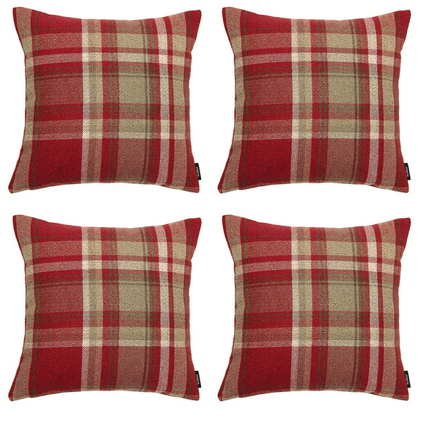 McAlister Textiles Heritage Red + White Tartan Cushion Set Cushions and Covers Cushion Covers Set of 4