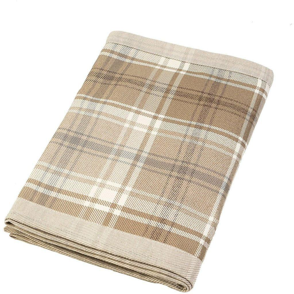 McAlister Textiles Heritage Tartan Check Beige Cream Throw Throws and Runners