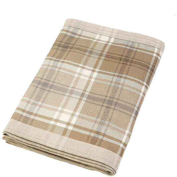 Heritage Tartan Check Beige Cream Throw-Throws and Runners-Bed Runner (50cm x 240cm)-
