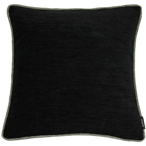 McAlister Textiles Alston Chenille Cushion - Black + Charcoal Grey-Cushions and Covers-