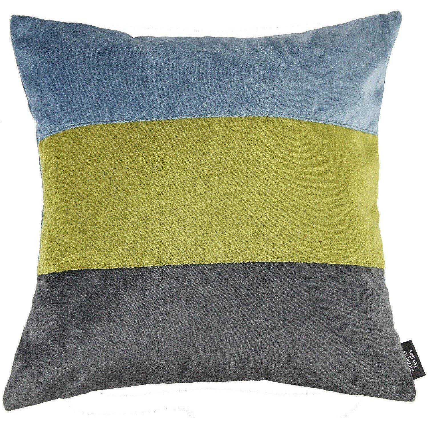 McAlister Textiles Straight Patchwork Velvet Blue, Green + Grey Cushion Cushions and Covers Cover Only 43cm x 43cm
