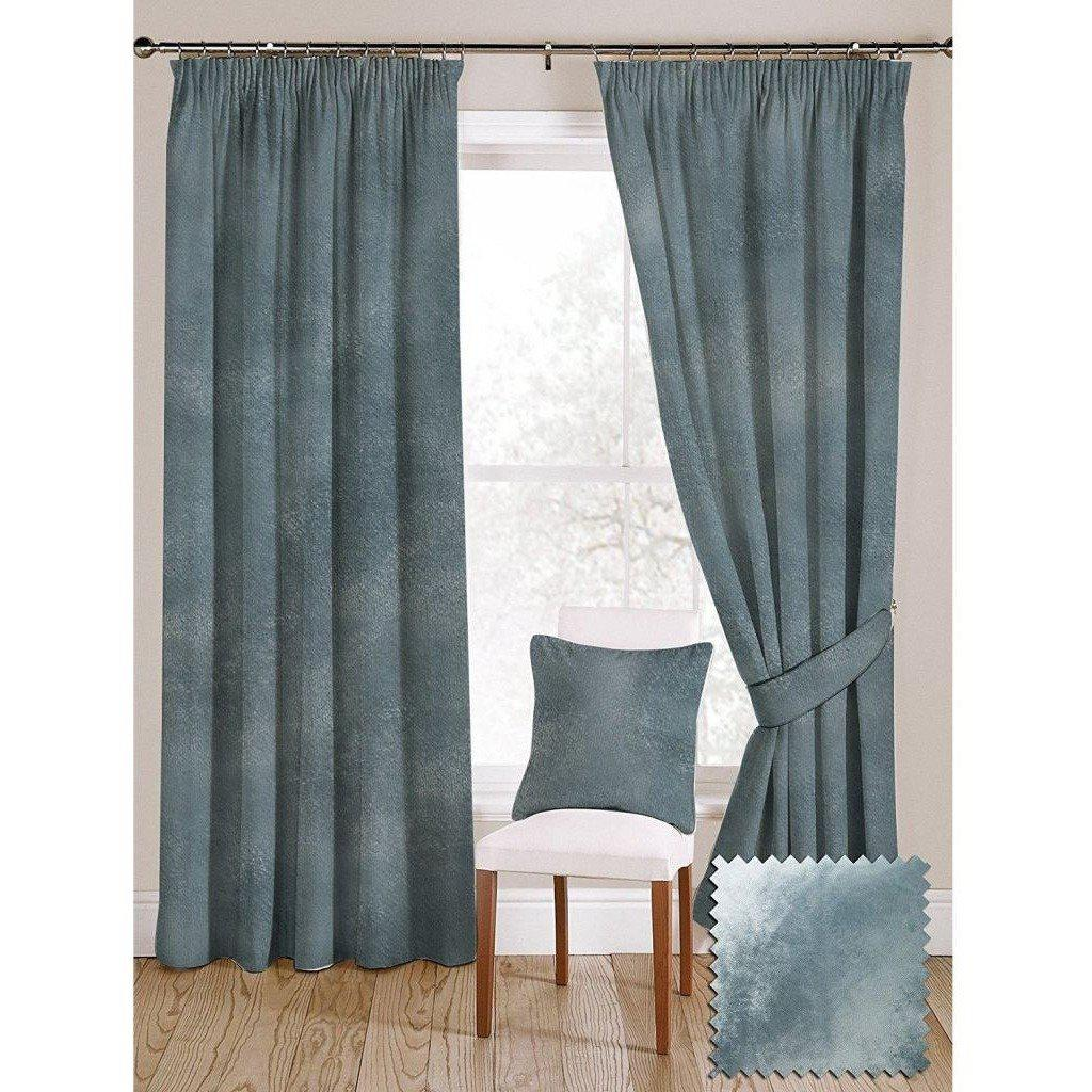McAlister Textiles Duck Egg Blue Crushed Velvet Curtains Tailored Curtains