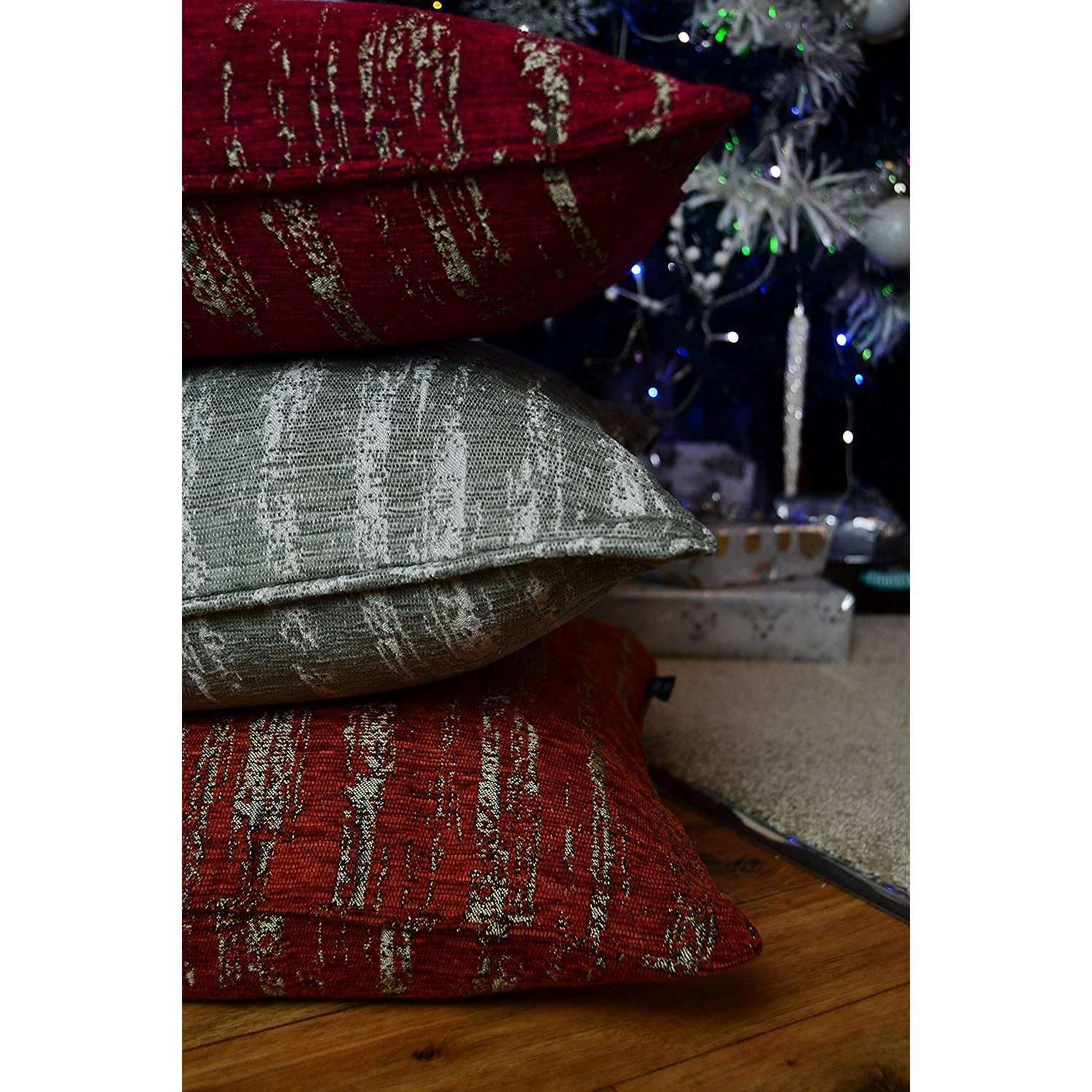 McAlister Textiles Textured Chenille Wine Red Cushion Cushions and Covers