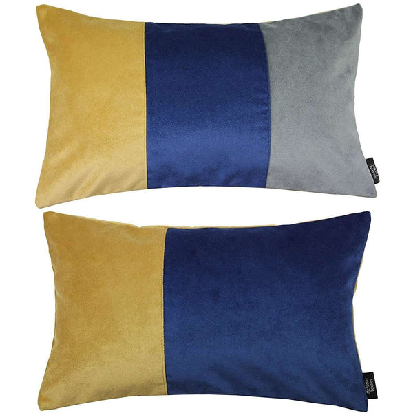 McAlister Textiles Patchwork Velvet Navy, Yellow + Grey Pillow Set Pillow Set of 2 Cushion Covers