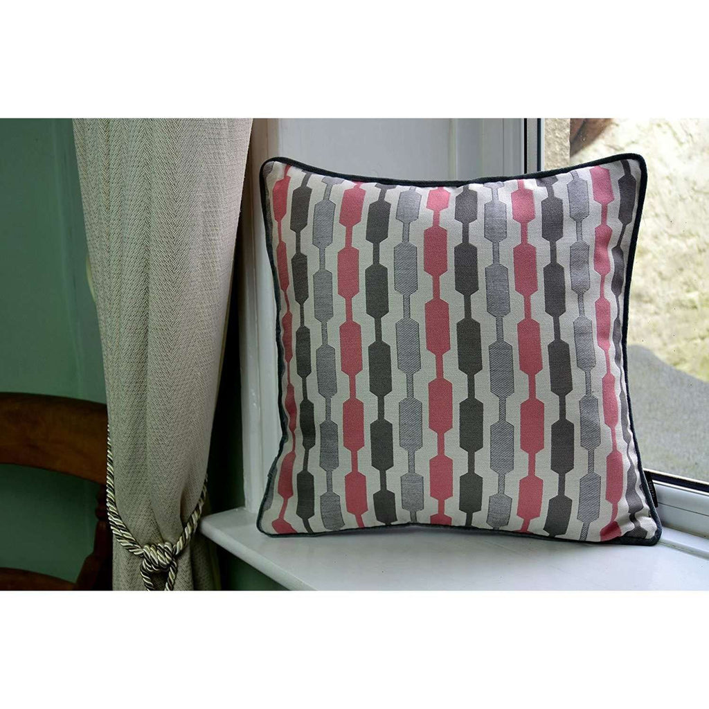 McAlister Textiles Blush Pink Geometric and Plain Velvet 43cm x 43cm Cushion Set of 3 Cushions and Covers