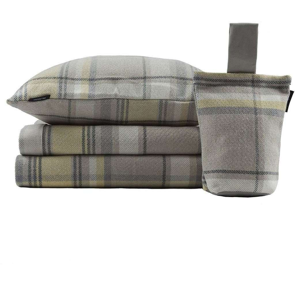 McAlister Textiles Heritage Yellow + Grey Tartan Cushion Cushions and Covers