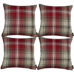 Cargar imagen en el visor de la galería, McAlister Textiles Angus Red + White Tartan 43cm 43cm Cushion Sets Cushions and Covers Cushion Covers Set of 4