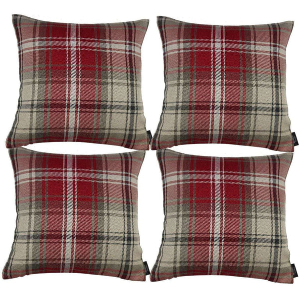 McAlister Textiles Angus Tartan Check Red + White Cushion Set Cushions and Covers Cushion Covers Set of 4