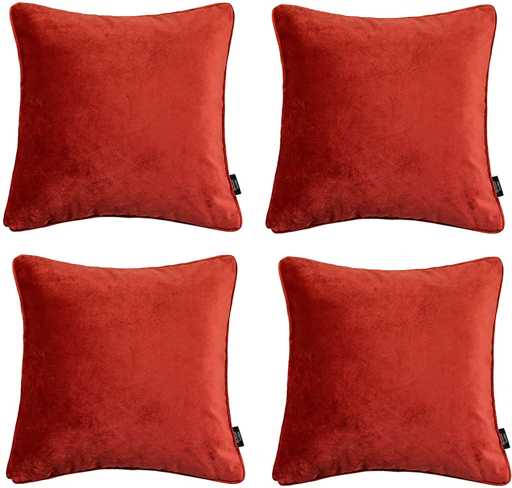 McAlister Textiles Matt Rust Red Orange Velvet 43cm x 43cm Cushion Sets Cushions and Covers Cushion Covers Set of 4
