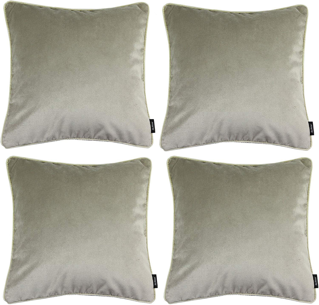 McAlister Textiles Matt Beige Mink Velvet 43cm x 43cm Cushion Sets Cushions and Covers Cushion Covers Set of 4