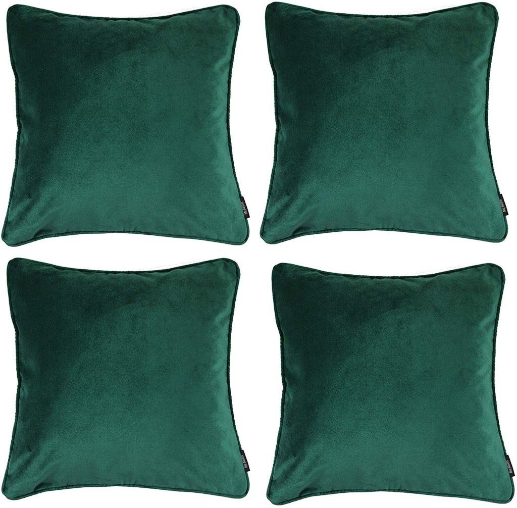 McAlister Textiles Matt Emerald Green Velvet 43cm x 43cm Cushion Sets Cushions and Covers Cushion Covers Set of 4