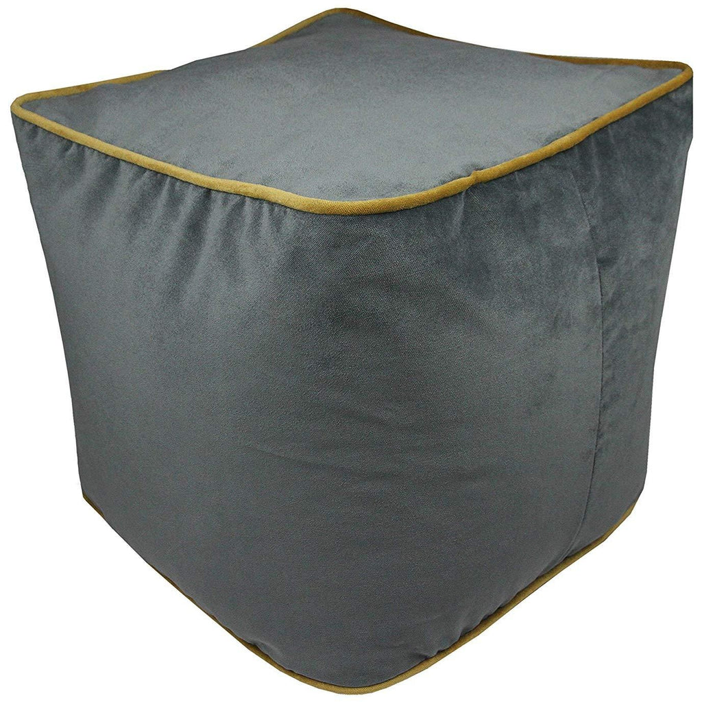 McAlister Textiles Deluxe Velvet Grey + Yellow Cube Seat Stool Square Stool