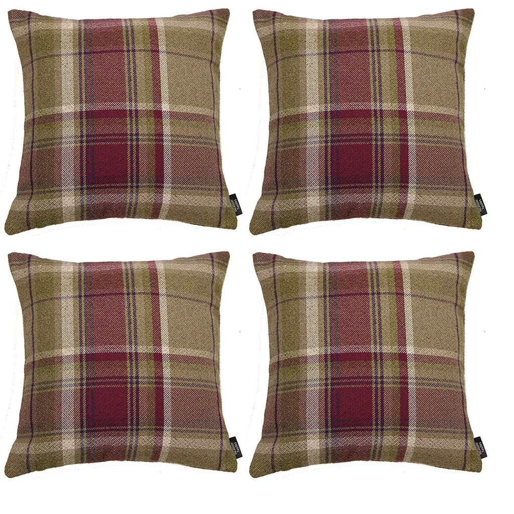 McAlister Textiles Heritage Purple + Green Tartan 43cm x 43cm Cushion Sets Cushions and Covers Cushion Covers Set of 4