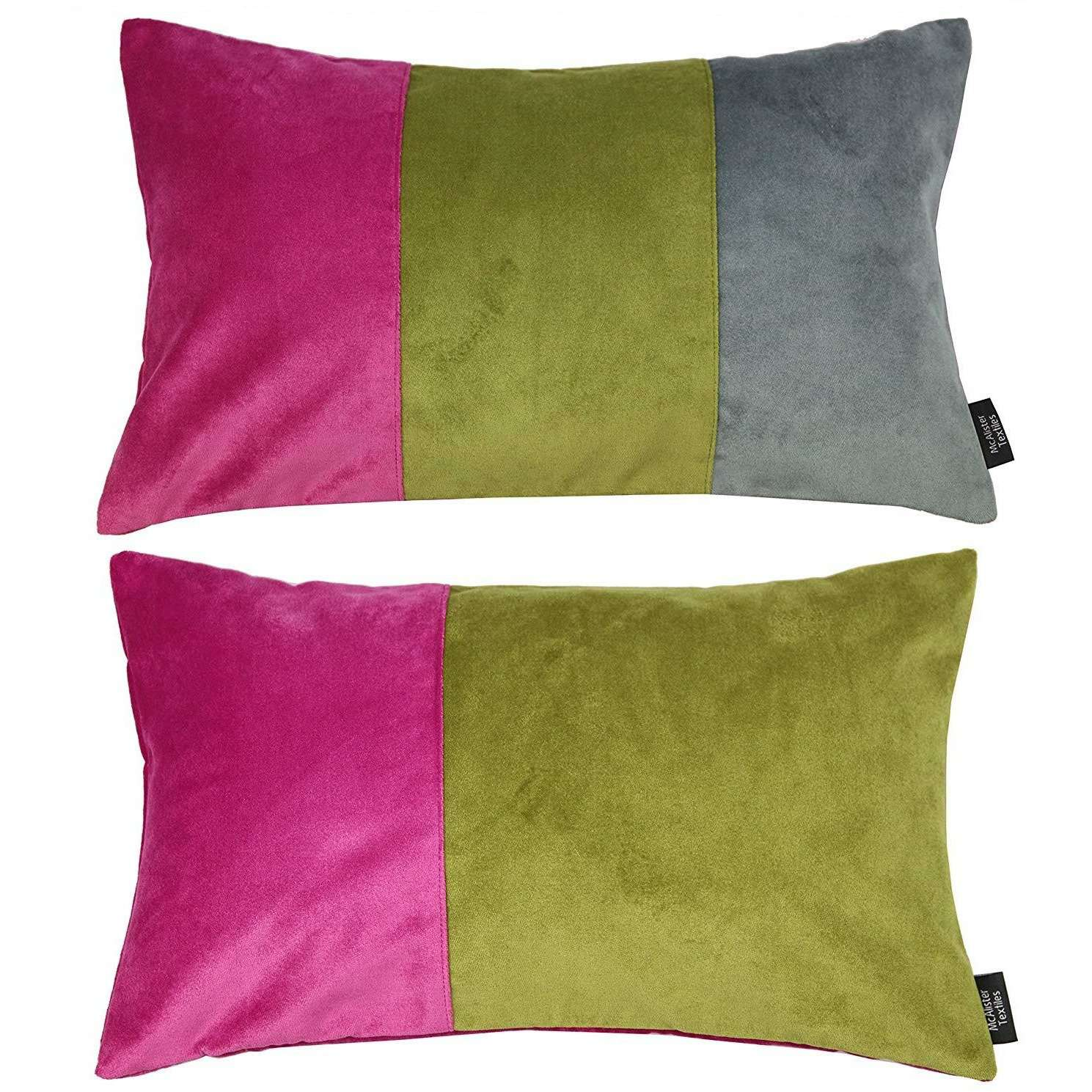 McAlister Textiles Patchwork Velvet Pink, Green + Grey 50cm x 30cm Pillow Sets Pillow Set of 2 Cushion Covers
