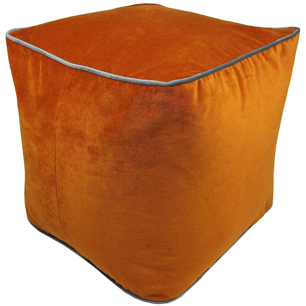 McAlister Textiles Deluxe Velvet Burnt Orange Ottoman Cube Square Stool