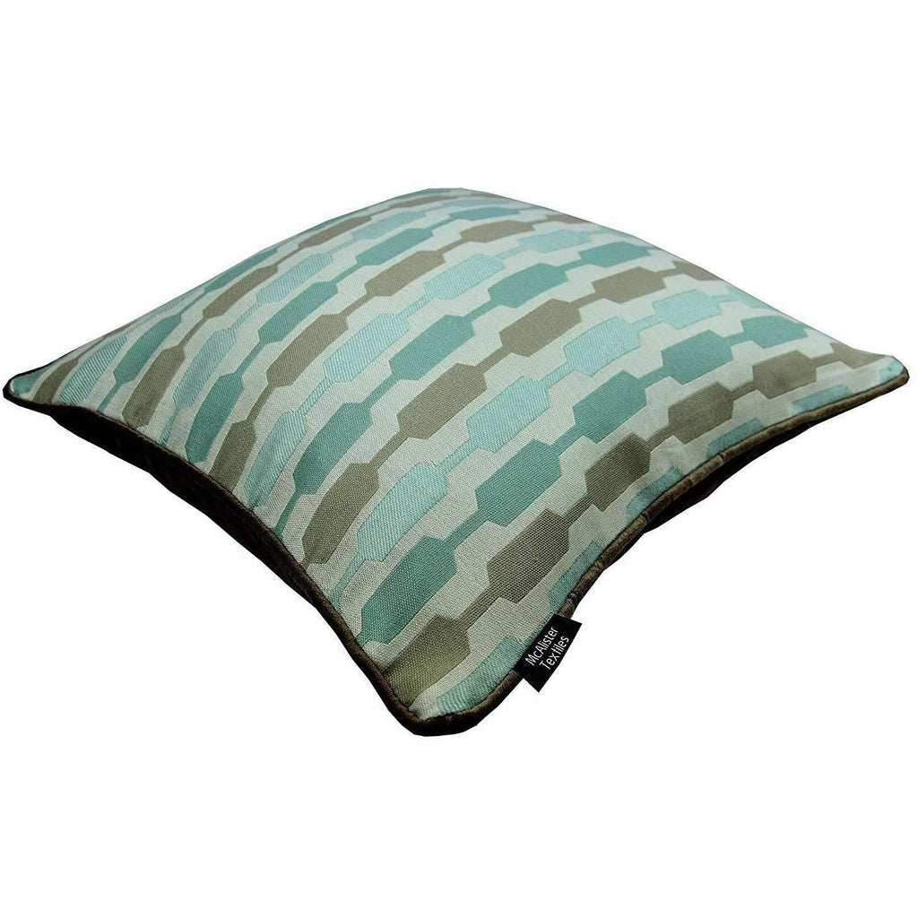 McAlister Textiles Duck Egg Blue Geometric and Plain Velvet 43cm x 43cm Cushion Set of 3 Cushions and Covers