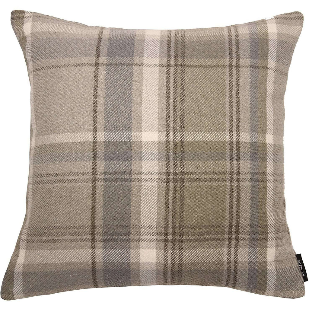McAlister Textiles Heritage Beige Cream Tartan Cushion Cushions and Covers Polyester Filler 43cm x 43cm