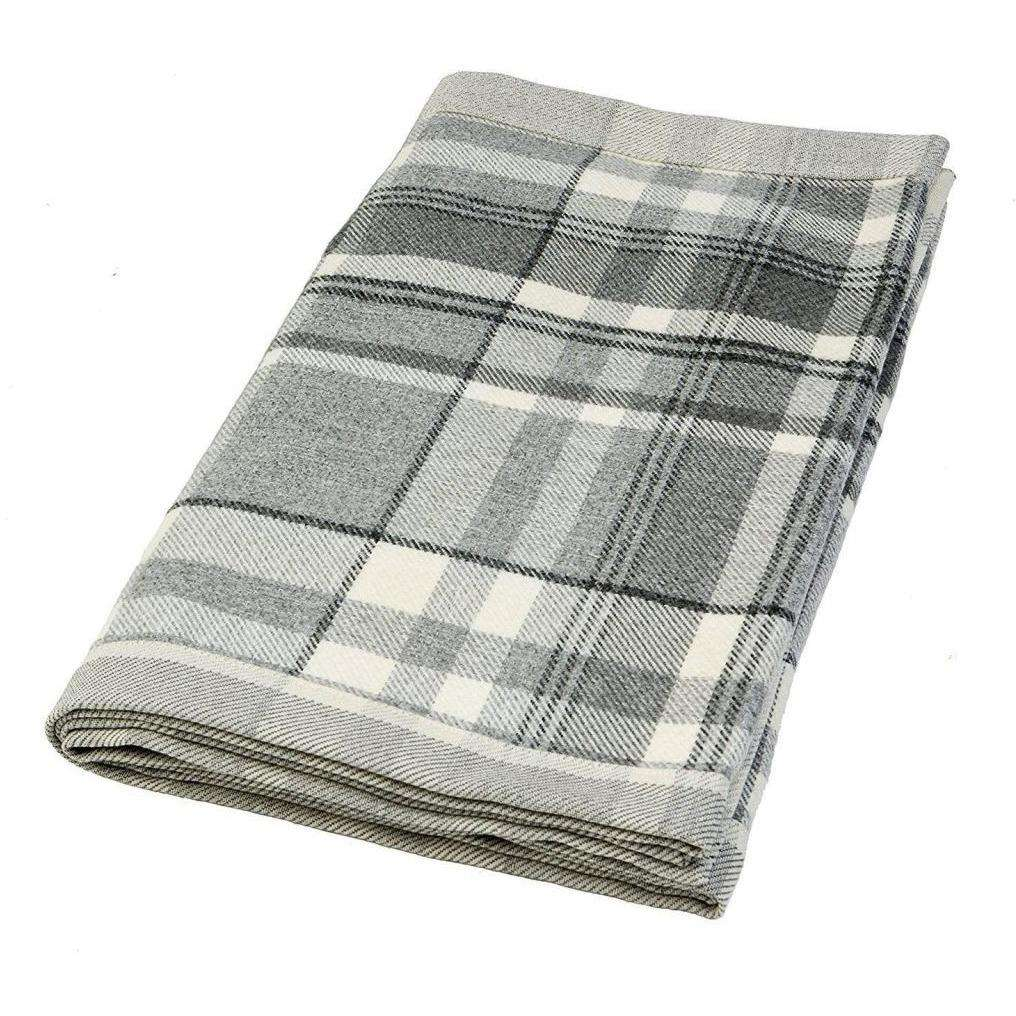 McAlister Textiles Heritage Charcoal Grey Tartan Throw Throws and Runners Regular (130cm x 200cm)
